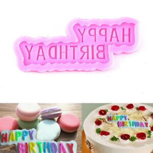 Happy birthday fondant cake decorating silicone mold baking tools xmas dec^lk
