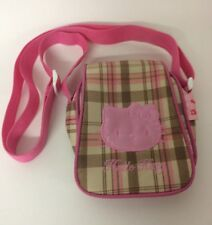 HELLO KITTY Crossbody Pink Check Bag Ladies Girls Adjustable Strap Pocket