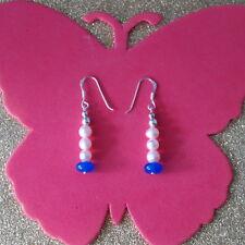 Beautiful Earrings With Sapphire & Pearls  3.4 Gr. 3 Cm Long+Silver Hooks In Box