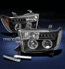 2007-2013 TUNDRA/2008-2015 SEQUOIA TRUCK HALO LED BLACK PROJECTOR HEAD LIGHT+DRL
