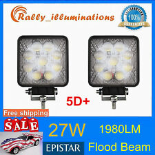 2X 27W 5D Lens Led Work Light Flood Beam Driving Fog Lamp Square Offroad SUV 4WD