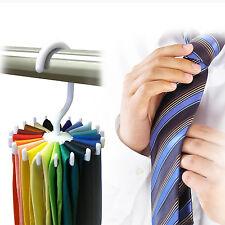 360° Rotation Neck Tie Rack Hanger 20 Hooks Belt Scarf Holder Wardrobe Organizer