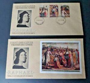 Tristan da Cunha 1983 Raphael Set and Miniature Sheet First Day Covers