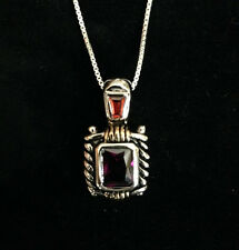 NEW Arrival Rhodium Plated .925 Sterling Silver Amethyst/Topaz Pendant Necklace
