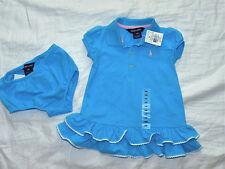 girls 2 pc RALPH LAUREN blue white dress size 9M 9 mos NEW nwt