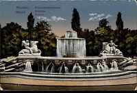 München Bayern Postkarte ~1910 Wittelsbacher Brunnen Lenbachplatz color Ansicht