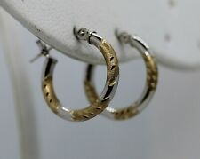 """Lovely Everyday Wear 14K Yellow & White Gold 5/8"""" Hoop Earrings (0.67g)"""