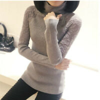 Ladies Lace Knitted Jumper Knitwear Stretch Turtle Neck Sweater Tops Long Sleeve