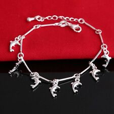 Ankle Jewelry Dolphin Pendant Bangle Bracelet Silver Plated Chain Anklet