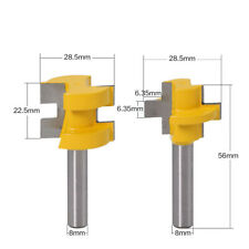 8mm Shank 2 Bit Tongue and Groove Router Bit Set