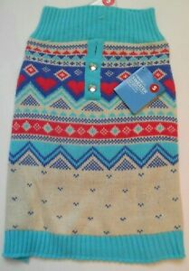 """Dog Sweater NWT Vibrant Life Size S 10-20lbs 13"""" Length Knit Pink Blue White"""
