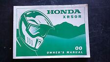Honda XR50R XR 50 R 2000 Owners Manual