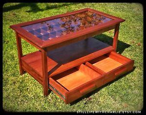 Handmade Mahogany Display Shadow Box Coffee Table with shelf and drawers