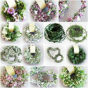 Buchsbaum Girlande Blüten Blumen Beeren Draht Deko Blatt Girlande weiß rosa grün