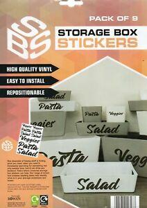 STORAGE BOX STICKERS - PASTA/VEGGIES/SALAD - FREE UK POSTAGE