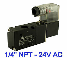 """1/4"""" Inch Pneumatic 3 Way Inline Directional Control Air Solenoid Valve 24V AC"""