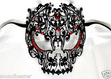 Men Devil Skull Venetian Masquerade Metal Filigree Mask w/ Crimson Rhinestones
