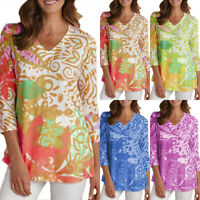 Women Plus Baggy V Neck 3/4 Sleeve T Shirt Summer Casual Floral Blouse Tunic Top