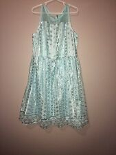 NEW Justice Kids Girls Size 12 Aqua Blue with Silver Sequin Sparkle Dress Zipper