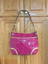COACH Peyton Embossed Genuine Leather Convert HOBO Handbag Pink-Tan F20022