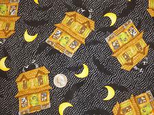 Debbie Mumm Halloween Haunted House Moons Bats Fabric 1 1/4 yard only