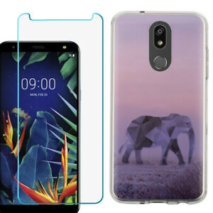 TPU Case for LG Solo LTE, Harmony 3,  w/ Tempered Glass - Elephant/Twilight