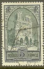 "FRANCE TIMBRE STAMP 259 C "" CATHEDRALE REIMS 3F TYPE IV "" OBLITERE TB"