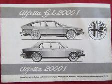ORIGINALE ALFA ROMEO ALFETTA GT + BERLINA 1° serie istruzioni d'uso +