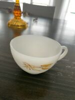 Vintage Fire King Oven Ware Milk Glass Coffee Tea Mug Cup With Wheat