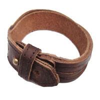 Genuine Leather Bracelet Wristband Fashion Men Women Unisex Multi Thong Braided