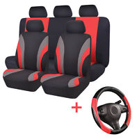 Universal Car Seat Covers Black Red Steering Wheel Cover Airbag For SUV VAN Ford