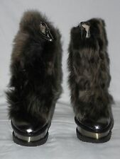 BRIAN ATWOOD TARALLES FAUX FUR BRONZE PATENT LEATHER PLATFORM BOOT Sz. 11M