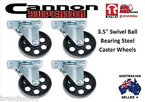 "3.5"" Swivel Ball Bearing Steel Caster Wheels with Top Plate Set of 4 (NO BRAKE)"