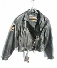 HARLEY DAVIDSON~Women's CHROME Black Leather ORANGE COAST CHAPTER Jacket XS