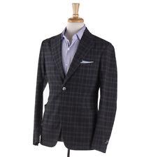 NWT $1325 BOGLIOLI Gray-Turquoise Check Lightweight Cotton Sport Coat 38 R
