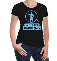 Damen Kurzarm Girlie T-Shirt Stand Up Paddling Surfbrett Paddel