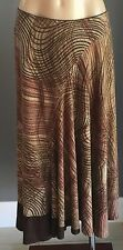 Retro GEORGE Brown Hues Midi Length Elastic Waist Skirt Size 12