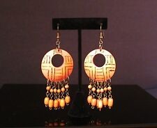Earrings Amazing Chic CARVED WOOD lightweight Dangles, Hooks