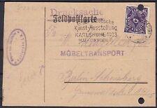 DR Mi Nr. 230 EF ehm. Feldpostkarte Drucksache, Karlsruhe - Berlin mit WS 1923