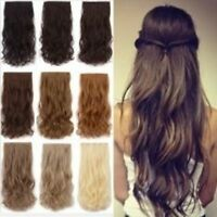 Women Clip in Half head Hair Extensions Wavey Curly Straight Brown Clip Long New