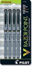 Pilot 11025 V Razor Point Extra Fine Liquid Ink Markers Black Ink 4 Pack