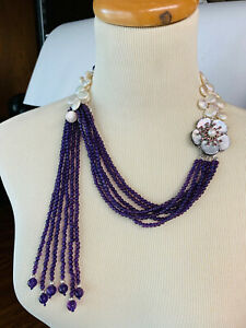 Necklace with Amethyst and Baroque pearls & Mother of Pearl Clasp