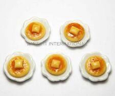 5 Dollhouse Miniature Pancakes on Ceramic Plates * Doll Mini Food Breakfast Dish