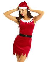 Women Santa Claus Christmas Costume Cosplay XMAS Fancy Mini Dress Hat Outfits