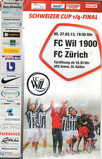 PROGRAMME UFFICIALE=27/02/13 FC WIL 1900-FC ZURICH=COPPA SVIZZERA 1/4 FINALI