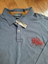 New listing NWT Polo Ralph Lauren Men's Big&Tall Blue long sleeve Pony Rugby Shirt 4XB