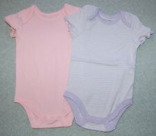 Toddler Girls Bodysuit TWO LOT Purple Stripe PINK SOLID 12 Mo Short Sleeve SNAPS