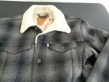 LEVI'S Mens Flannel Sherpa Lined 16365-0032 Trucker Jacket NEW Hipster MEDIUM