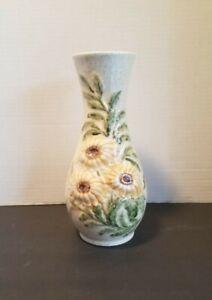 Vtg.Vase Sunflowers Ceramic Boho Floral Moriage  Handpainted Handmade signed