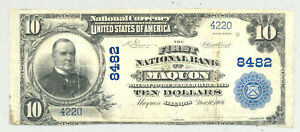 $10 Series 1902 First Nat. Bank National Banknote Maquon, Illinois Knox County